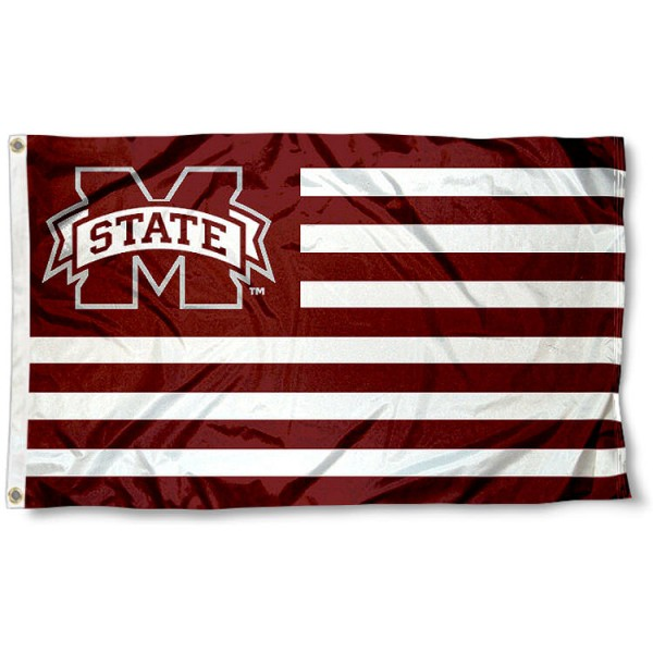 Mississippi State University Striped Flag measures 3'x5', is made of polyester, offers quadruple stitched flyends for durability, has two metal grommets, and is viewable from both sides with a reverse image on the opposite side. Our Mississippi State University Striped Flag is officially licensed by the selected school university and the NCAA