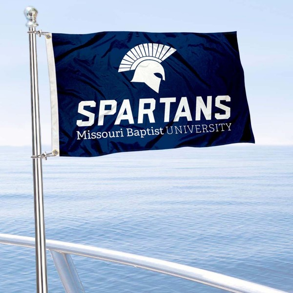 Missouri Baptist Spartans Boat and Mini Flag is 12x18 inches, polyester, offers quadruple stitched flyends for durability, has two metal grommets, and is double sided. Our mini flags for Missouri Baptist University are licensed by the university and NCAA and can be used as a boat flag, motorcycle flag, golf cart flag, or ATV flag.