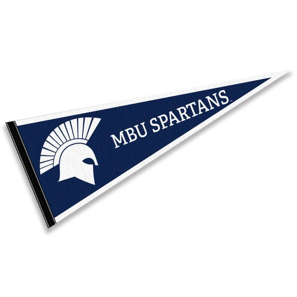 Missouri Baptist Spartans Pennant consists of our full size sports pennant which measures 12x30 inches, is constructed of felt, is single sided imprinted, and offers a pennant sleeve for insertion of a pennant stick, if desired. This Missouri Baptist Spartans Pennant Decorations is Officially Licensed by the selected university and the NCAA.