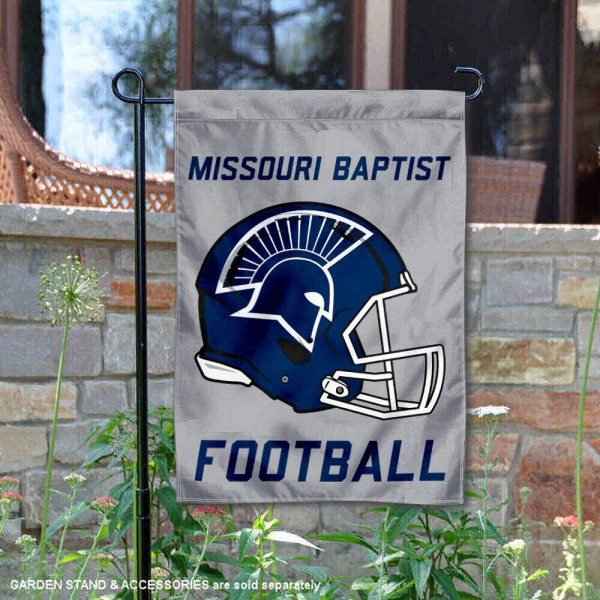 Missouri Baptist University Football Helmet Garden Banner is 13x18 inches in size, is made of 2-layer polyester, screen printed Missouri Baptist University athletic logos and lettering. Available with Same Day Express Shipping, Our Missouri Baptist University Football Helmet Garden Banner is officially licensed and approved by Missouri Baptist University and the NCAA.