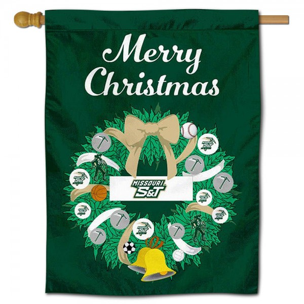 Missouri Miners Happy Holidays Banner Flag measures 30x40 inches, is made of poly, has a top hanging sleeve, and offers dye sublimated Missouri Miners logos. This Decorative Missouri Miners Happy Holidays Banner Flag is officially licensed by the NCAA.