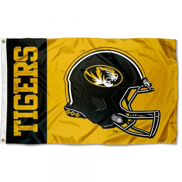 Missouri Mizzou Tigers Football Helmet Flag measures 3x5 feet, is made of 100% polyester, offers quadruple stitched flyends, has two metal grommets, and offers screen printed NCAA team logos and insignias. Our Missouri Mizzou Tigers Football Helmet Flag is officially licensed by the selected university and NCAA.