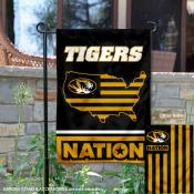 Missouri Mizzou Tigers Garden Flag with USA Country Stars and Stripes