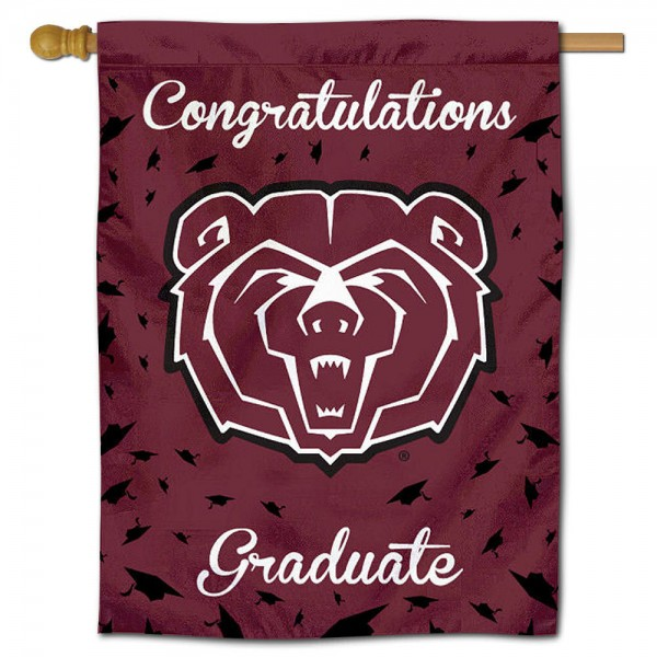 Missouri State Bears Congratulations Graduate Flag measures 30x40 inches, is made of poly, has a top hanging sleeve, and offers dye sublimated Missouri State Bears logos. This Decorative Missouri State Bears Congratulations Graduate House Flag is officially licensed by the NCAA.