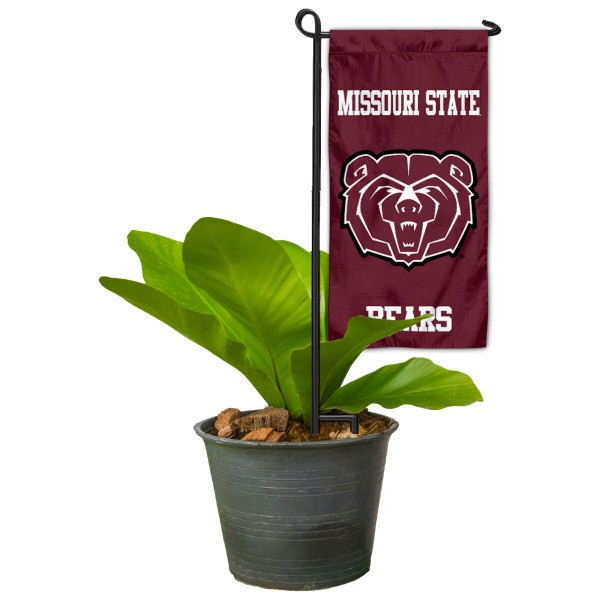 "Missouri State Bears Flower Pot Topper Flag kit includes our 4""x8"" mini garden banner and 6"" x 14"" mini garden banner stand. The mini flag is made of 1-ply polyester, has screen printed logos and the garden stand is made of steel and powder coated black. This kit is NCAA Officially Licensed by the selected college or university."