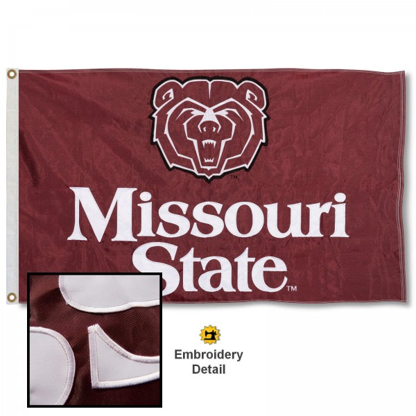 Missouri State Bears Nylon Embroidered Flag measures 3'x5', is made of 100% nylon, has quadruple flyends, two metal grommets, and has double sided appliqued and embroidered University logos. These Missouri State Bears 3x5 Flags are officially licensed by the selected university and the NCAA.
