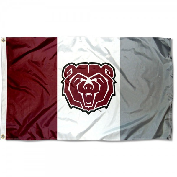 Missouri State Bears State Flag measures 3x5 feet, is made of 100% polyester, offers quadruple stitched flyends, has two metal grommets, and offers screen printed NCAA team logos and insignias. Our Missouri State Bears State Flag is officially licensed by the selected university and NCAA.