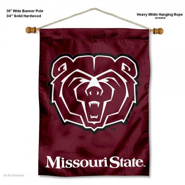 """Missouri State Bears Wall Banner is constructed of polyester material, measures a large 30""""x40"""", offers screen printed athletic logos, and includes a sturdy 3/4"""" diameter and 36"""" wide banner pole and hanging cord. Our Missouri State Bears Wall Banner is Officially Licensed by the selected college and NCAA."""