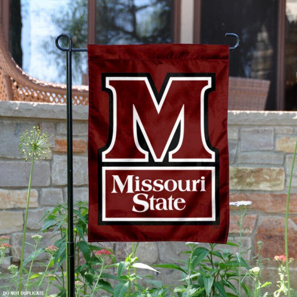 Missouri State U Garden Flag is 13x18 inches in size, is made of 2-layer polyester, screen printed Missouri State U athletic logos and lettering. Available with Same Day Express Shipping, Our Missouri State U Garden Flag is officially licensed and approved by Missouri State U and the NCAA.