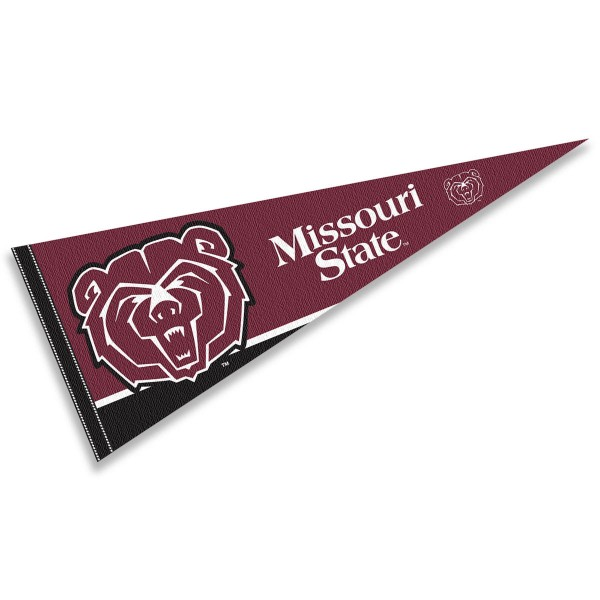 Missouri State University Decorations consists of our full size pennant which measures 12x30 inches, is constructed of felt, is single sided imprinted, and offers a pennant sleeve for insertion of a pennant stick, if desired. This Missouri State University Decorations is officially licensed by the selected university and the NCAA.