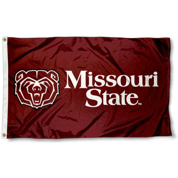 Missouri State University Flag measures 3'x5', is made of 100% poly, has quadruple stitched sewing, two metal grommets, and has double sided Team University logos. Our Missouri State University Flag is officially licensed by the selected university and the NCAA.