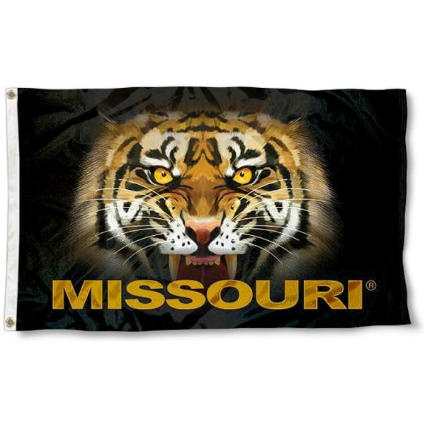 Missouri Tiger Eye Flag measures 3'x5', is made of 100% poly, has quadruple stitched sewing, two metal grommets, and has double sided Team University logos. Our Missouri Tigers 3x5 Flag is officially licensed by the selected university and the NCAA.