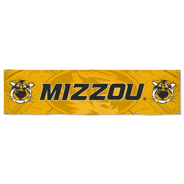 Missouri Tigers 8 Foot Large Banner measures 2x8 feet and displays Missouri Tigers logos. Our Missouri Tigers 8 Foot Large Banner is made of thick polyester and ten grommets around the perimeter for hanging securely. These banners for Missouri Tigers are officially licensed by the NCAA.
