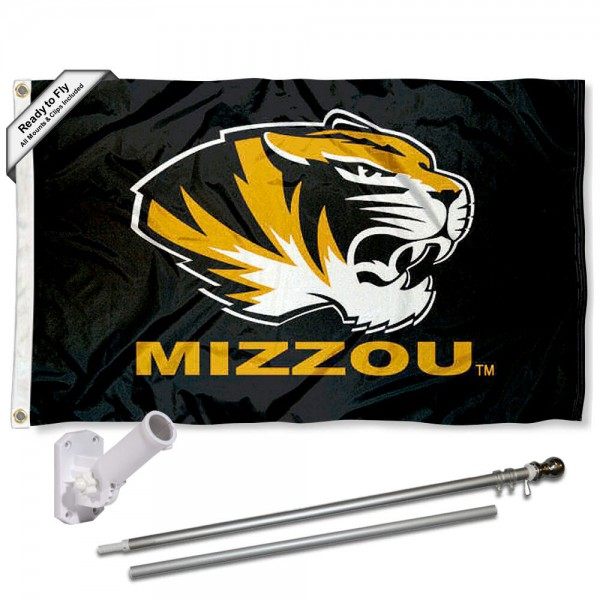 Our Missouri Tigers Black Flag Pole and Bracket Kit includes the flag as shown and the recommended flagpole and flag bracket. The flag is made of polyester, has quad-stitched flyends, and the NCAA Licensed team logos are double sided screen printed. The flagpole and bracket are made of rust proof aluminum and includes all hardware so this kit is ready to install and fly.