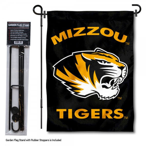 "Missouri Tigers Black Garden Flag and Pole Stand kit includes our 13""x18"" garden banner which is made of 2 ply poly with liner and has screen printed licensed logos. Also, a 40""x17"" inch garden flag stand is included so your Missouri Tigers Black Garden Flag and Pole Stand is ready to be displayed with no tools needed for setup. Fast Overnight Shipping is offered and the flag is Officially Licensed and Approved by the selected team."