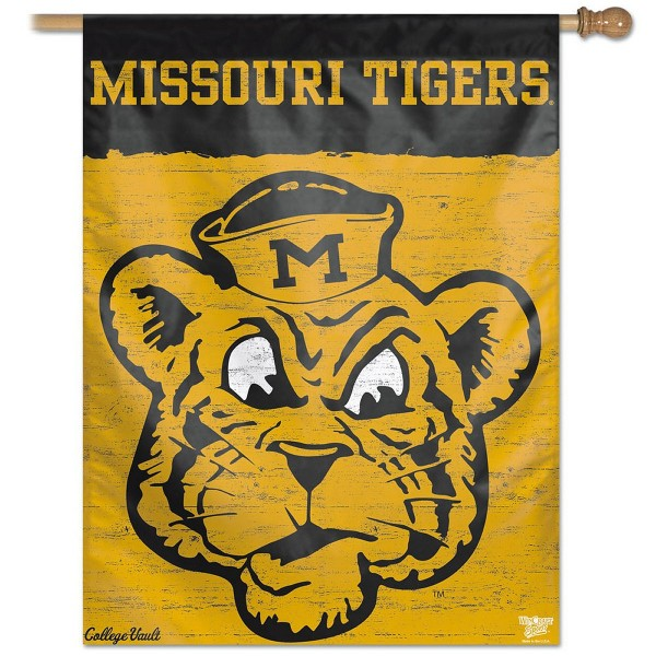 Missouri Tigers College Vault Logo House Flag is constructed of polyester material, is a vertical house flag, measures 27x37 inches, offers screen printed NCAA team insignias, and has a top pole sleeve to hang vertically. Our Missouri Tigers College Vault Logo House Flag is officially licensed by the selected university and NCAA.