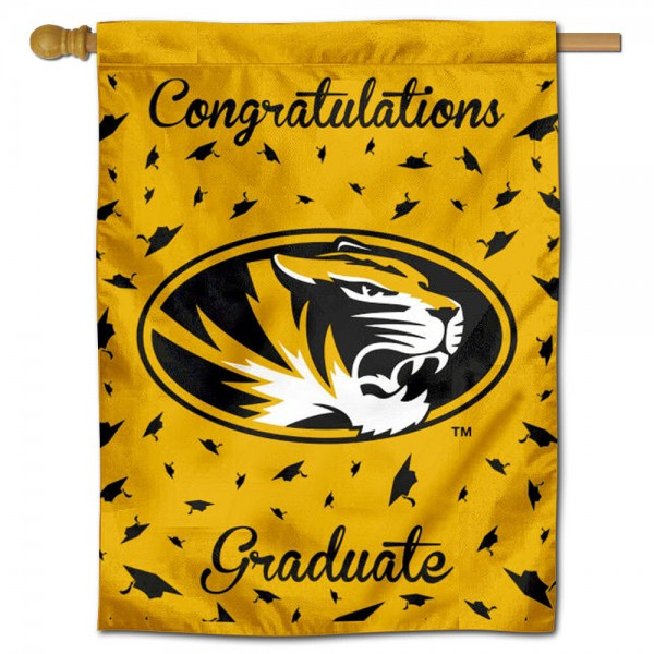 Missouri Tigers Congratulations Graduate Flag measures 30x40 inches, is made of poly, has a top hanging sleeve, and offers dye sublimated Missouri Tigers logos. This Decorative Missouri Tigers Congratulations Graduate House Flag is officially licensed by the NCAA.