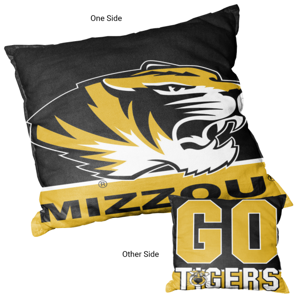 Missouri Tigers Double Sided Pillow measures 15 x 15 inches square, has a cover made of 600D Thick Polyester, included New polyester fill, and is double sided screen printed with a unique logo on each side. Each college pillow includes Officially Licensed Logos and Insignias.