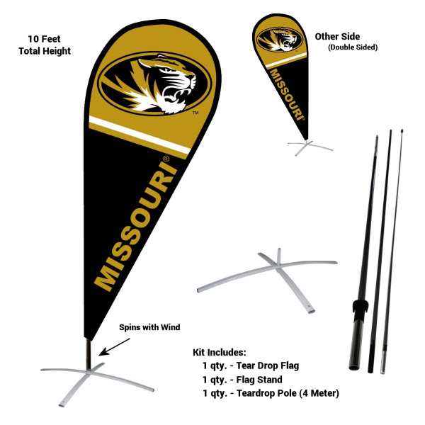 Missouri Tigers Feather Flag Kit measures a tall 10' when fully assembled. The kit includes a Feather Flag, 3 Piece Fiberglass Pole, and matching Metal Feather Flag Stand. Our Missouri Tigers Feather Flag Kit easily assembles and is NCAA Officially Licensed by the selected school or university.