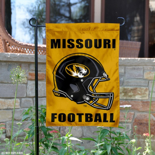 Missouri Tigers Football Helmet Garden Banner is 13x18 inches in size, is made of 2-layer polyester, screen printed University of Missouri athletic logos and lettering. Available with Same Day Express Shipping, Our Missouri Tigers Football Helmet Garden Banner is officially licensed and approved by University of Missouri and the NCAA.