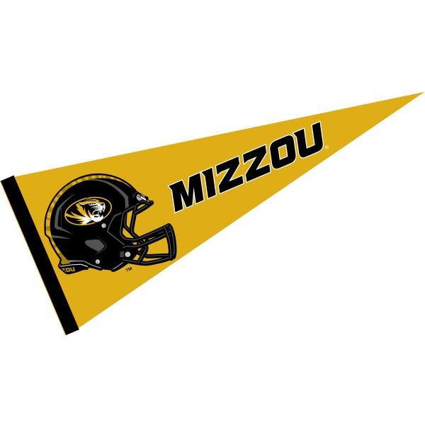 Missouri Tigers Helmet Pennant consists of our full size sports pennant which measures 12x30 inches, is constructed of felt, is single sided imprinted, and offers a pennant sleeve for insertion of a pennant stick, if desired. This Missouri Tigers Pennant Decorations is Officially Licensed by the selected university and the NCAA.