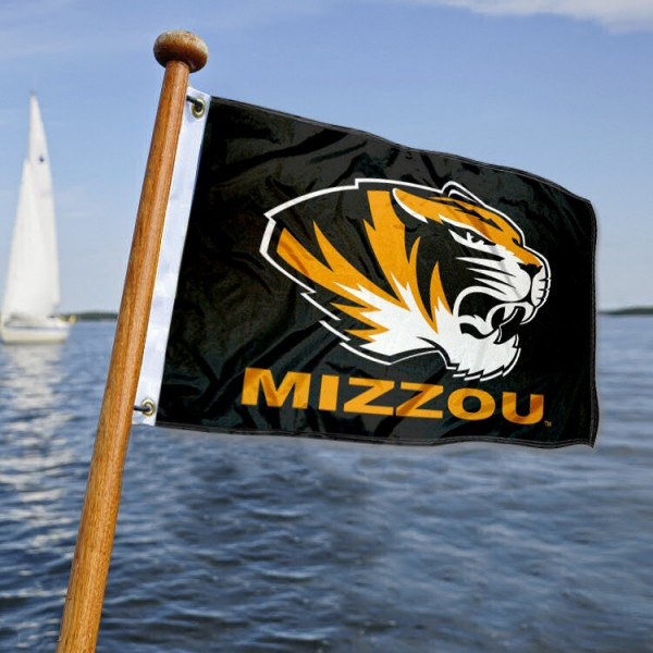 Missouri Tigers Nautical Flag measures 12x18 inches, is made of two-ply polyesters, offers quadruple stitched flyends for durability, has two metal grommets, and is viewable from both sides. Our Missouri Tigers Nautical Flag is officially licensed by the selected university and the NCAA and can be used as a motorcycle flag, golf cart flag, or ATV flag