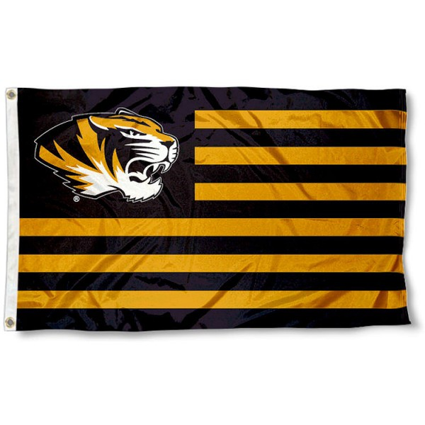 Missouri Tigers Striped Flag measures 3'x5', is made of polyester, offers quadruple stitched flyends for durability, has two metal grommets, and is viewable from both sides with a reverse image on the opposite side. Our Missouri Tigers Striped Flag is officially licensed by the selected school university and the NCAA