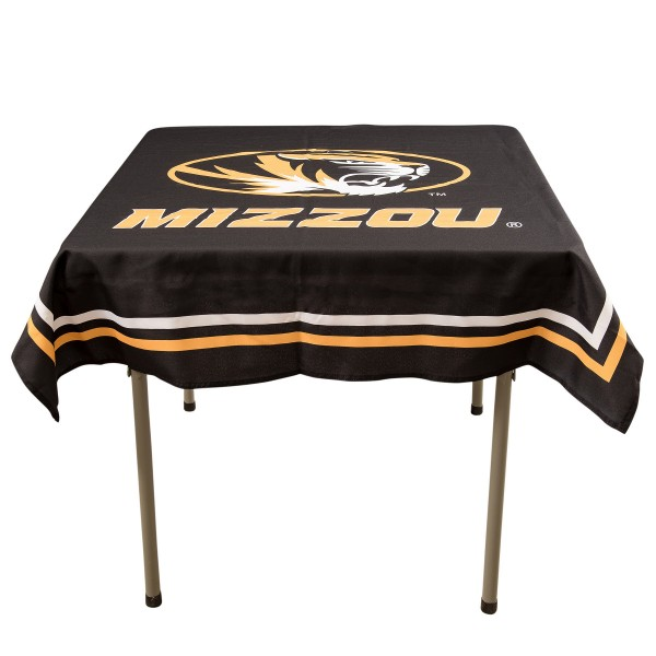 Missouri Tigers Table Cloth measures 48 x 48 inches, is made of 100% Polyester, seamless one-piece construction, and is perfect for any tailgating table, card table, or wedding table overlay. Each includes Officially Licensed Logos and Insignias.