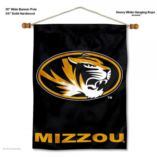 "Missouri Tigers Wall Banner is constructed of polyester material, measures a large 30""x40"", offers screen printed athletic logos, and includes a sturdy 3/4"" diameter and 36"" wide banner pole and hanging cord. Our Missouri Tigers Wall Banner is Officially Licensed by the selected college and NCAA."
