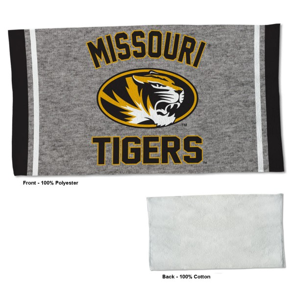 Missouri Tigers Workout Exercise Towel measures 22x42 inches, is made of 100% Polyester on the front and 100% Cotton on the back, has double stitched sewing perimeter, and Graphics and Logos, as shown. Our Missouri Tigers Workout Exercise Towel is officially licensed by the selected university and the NCAA. Also, machine washable and dryer safe.