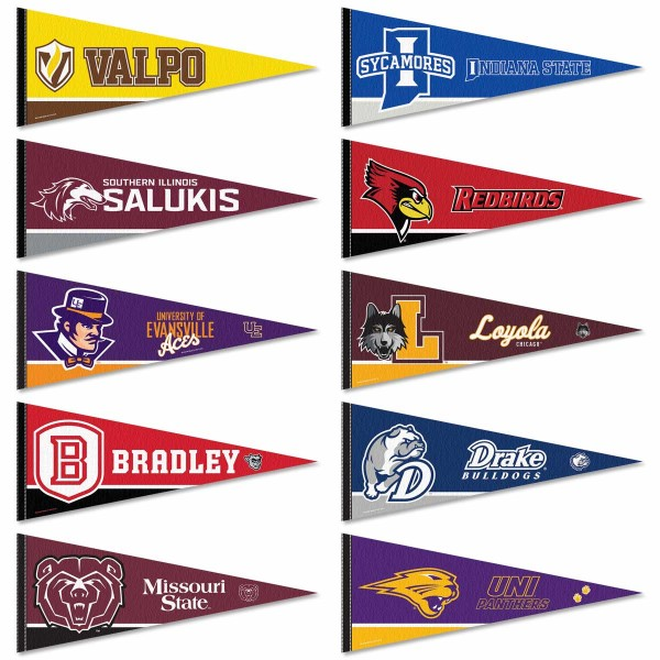 Missouri Valley Conference Pennants consists of all MVC Football school pennants and measure 12x30 inches. All 10 MVC Football teams are included and the Missouri Valley Conference Pennants are officially licensed by the NCAA and selected conference schools.