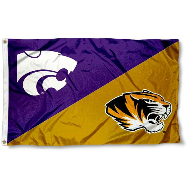 Missouri vs. Kansas State House Divided 3x5 Flag sizes at 3x5 feet, is made of 100% polyester, has quadruple-stitched fly ends, and the university logos are screen printed into the Missouri vs. Kansas State House Divided 3x5 Flag. The Missouri vs. Kansas State House Divided 3x5 Flag is approved by the NCAA and the selected universities.