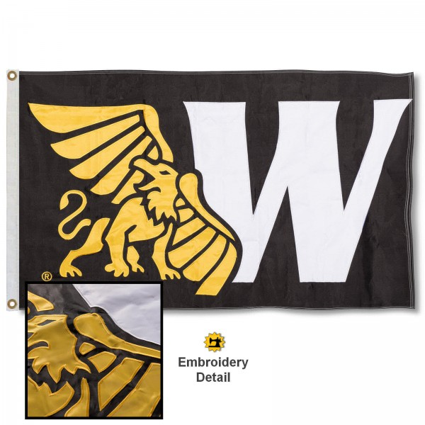Missouri Western State Griffons Nylon Embroidered Flag measures 3'x5', is made of 100% nylon, has quadruple flyends, two metal grommets, and has double sided appliqued and embroidered University logos. These Missouri Western State Griffons 3x5 Flags are officially licensed by the selected university and the NCAA.