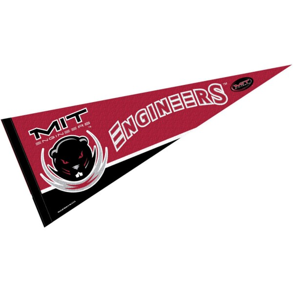 MIT Engineers Pennant is 12x30 inches, is made of felt, has a pennant stick sleeve, and the MIT logos are single sided screen printed. Our MIT Engineers Pennant is licensed by the NCAA and the university.