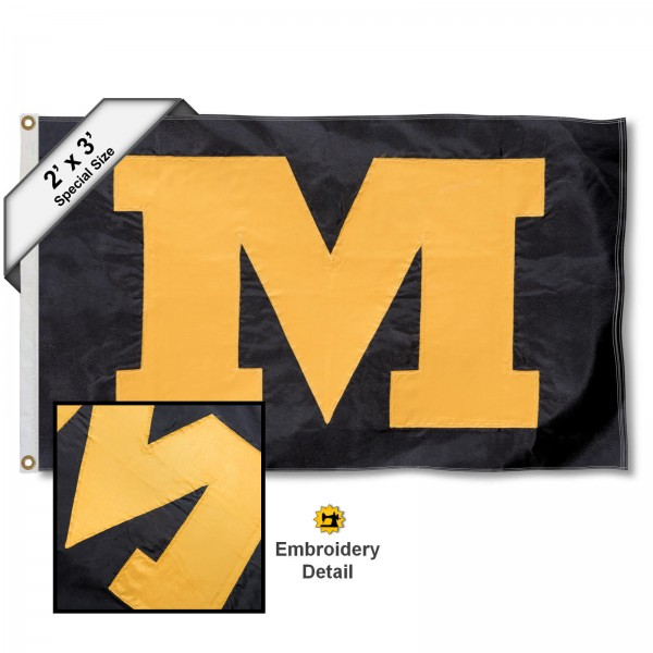 Mizzou M Small 2'x3' Flag measures 2x3 feet, is made of 100% nylon, offers quadruple stitched flyends, has two brass grommets, and offers embroidered Mizzou M logos, letters, and insignias. Our Mizzou M Small 2'x3' Flag is Officially Licensed by the selected university.