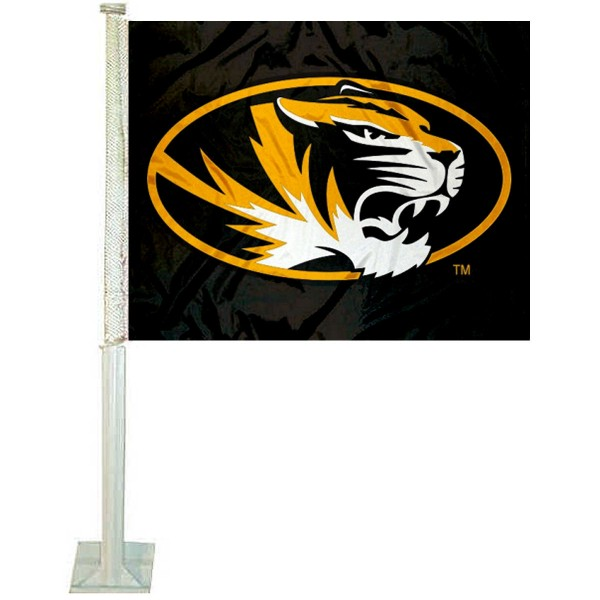 Mizzou Tigers Car Window Flag measures 12x15 inches, is constructed of sturdy 2 ply polyester, and has screen printed school logos which are readable and viewable correctly on both sides. Mizzou Tigers Car Window Flag is officially licensed by the NCAA and selected university.