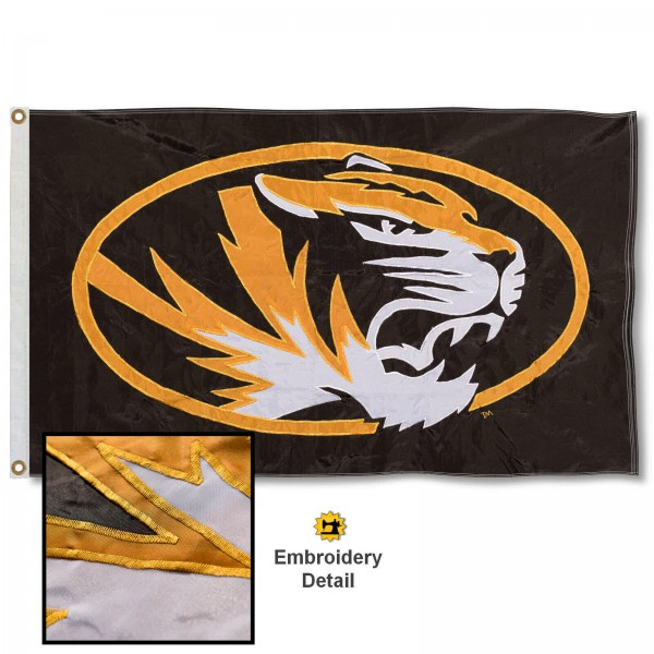 Mizzou Tigers Nylon Embroidered Flag measures 3'x5', is made of 100% nylon, has quadruple flyends, two metal grommets, and has double sided appliqued and embroidered University logos. These Mizzou Tigers 3x5 Flags are officially licensed by the selected university and the NCAA.