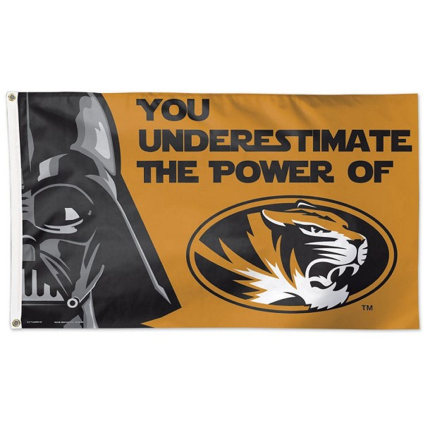 Mizzou Tigers Star Wars Flag measures 3'x5', is made of 100% poly, has quadruple stitched sewing, two metal grommets, and has double sided Team University logos. Our Mizzou Tigers Star Wars Flag is officially licensed by the selected university and the NCAA.