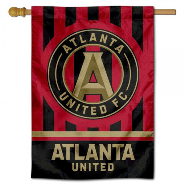 MLS Atlanta United FC Double Sided House Banner is screen printed with Atlanta United FC logos, is made of 2-ply 100% polyester, and is two sided and double sided. Our banners measure 28x40 inches and hang vertically with a top pole sleeve to insert your banner pole or flagpole.