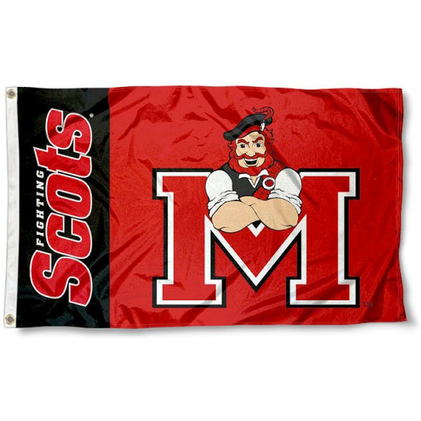 Monmouth College Flag measures 3'x5', is made of 100% poly, has quadruple stitched sewing, two metal grommets, and has double sided Fighting Scots logos. Our Monmouth College Flag is officially licensed by Fighting Scots and the NCAA.