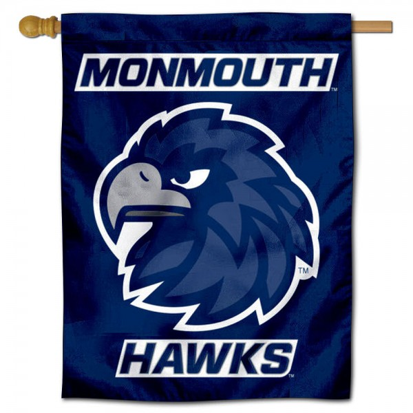 Monmouth Hawks Logo Double Sided House Flag is a vertical house flag which measures 30x40 inches, is made of 2 ply 100% polyester, offers screen printed NCAA team insignias, and has a top pole sleeve to hang vertically. Our Monmouth Hawks Logo Double Sided House Flag is officially licensed by the selected university and the NCAA.