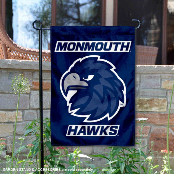 Monmouth Hawks Logo Garden Flag is 13x18 inches in size, is made of 2-layer polyester, screen printed university athletic logos and lettering, and is readable and viewable correctly on both sides. Available same day shipping, our Monmouth Hawks Logo Garden Flag is officially licensed and approved by the university and the NCAA.