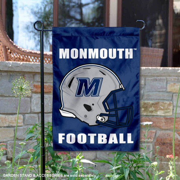 Monmouth University Football Helmet Garden Banner is 13x18 inches in size, is made of 2-layer polyester, screen printed Monmouth University athletic logos and lettering. Available with Same Day Express Shipping, Our Monmouth University Football Helmet Garden Banner is officially licensed and approved by Monmouth University and the NCAA.