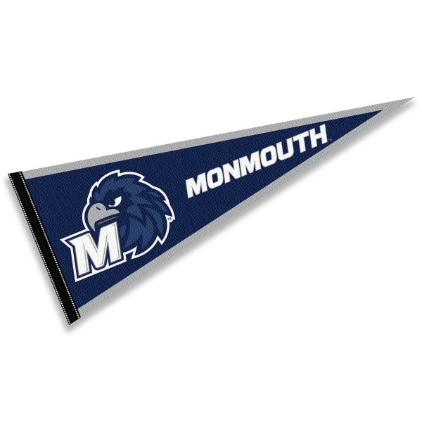 Monmouth University Pennant is 12x30 inches, is made of felt, has a pennant stick sleeve, and the Monmouth University logos are single sided screen printed. Our Monmouth University Pennant is licensed by the NCAA and the university.