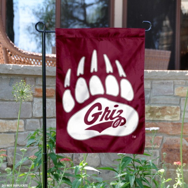 Montana Griz Garden Flag is 13x18 inches in size, is made of 2-layer polyester, screen printed athletic logos and lettering. Available with Same Day Express Shipping, Our Montana Griz Garden Flag is officially licensed and approved by the University and the NCAA.