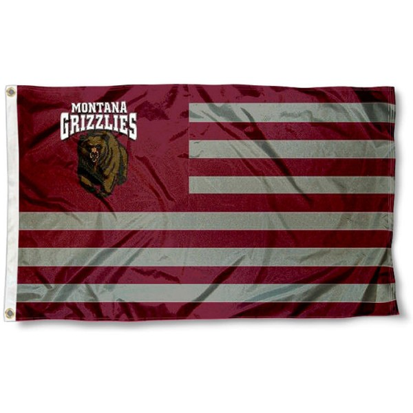 Montana Griz Stripes Flag measures 3'x5', is made of polyester, offers double stitched flyends for durability, has two metal grommets, and is viewable from both sides with a reverse image on the opposite side. Our Montana Griz Stripes Flag is officially licensed by the selected school university and the NCAA.