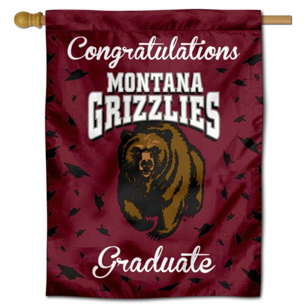Montana Grizzlies Congratulations Graduate Flag measures 30x40 inches, is made of poly, has a top hanging sleeve, and offers dye sublimated Montana Grizzlies logos. This Decorative Montana Grizzlies Congratulations Graduate House Flag is officially licensed by the NCAA.