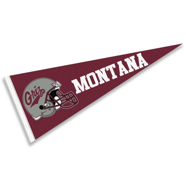 Montana Grizzlies Helmet Pennant consists of our full size sports pennant which measures 12x30 inches, is constructed of felt, is single sided imprinted, and offers a pennant sleeve for insertion of a pennant stick, if desired. This Montana Grizzlies Pennant Decorations is Officially Licensed by the selected university and the NCAA.