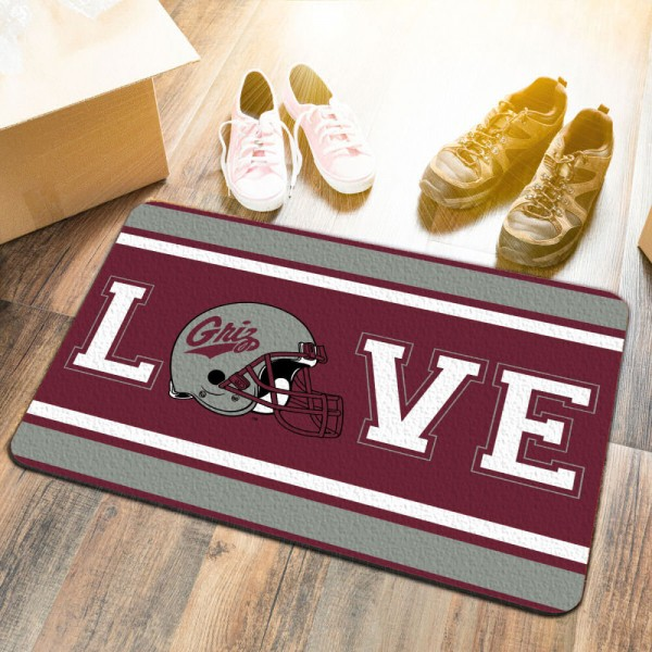 Montana Grizzlies LOVE Garage Man Cave Utility Doormat measures 17x25 inches rectangular, is made of polyester felt blends, has a durable non-slip rubber backing, and is UV, mildew, and stain resistant. Each college doormat includes Officially Licensed Logos and Insignias.
