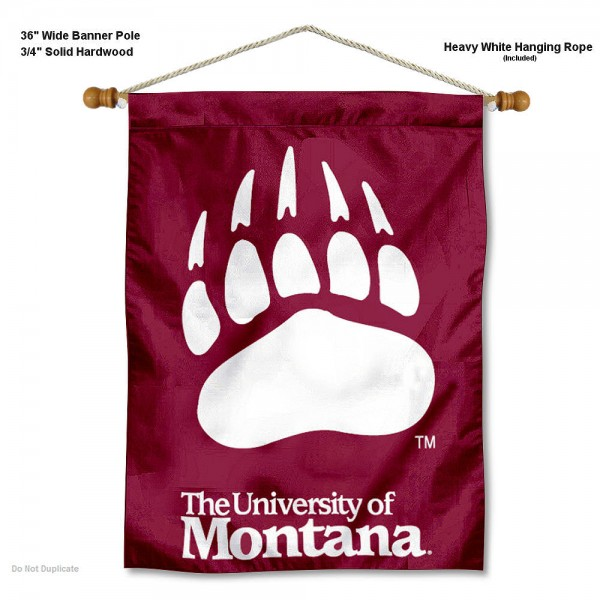 "Montana Grizzlies Wall Banner is constructed of polyester material, measures a large 30""x40"", offers screen printed athletic logos, and includes a sturdy 3/4"" diameter and 36"" wide banner pole and hanging cord. Our Montana Grizzlies Wall Banner is Officially Licensed by the selected college and NCAA."